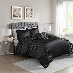 Madison Park Shelby 4-piece Silky Satin Duvet Cover Set