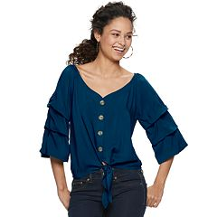Juniors' Crave Fame Pick Up Sleeve Tie Front Peasant Top