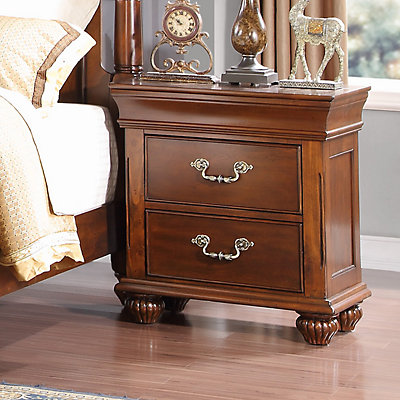 Home Source Highclere Castle Chestnut 2-Drawer Nightstand