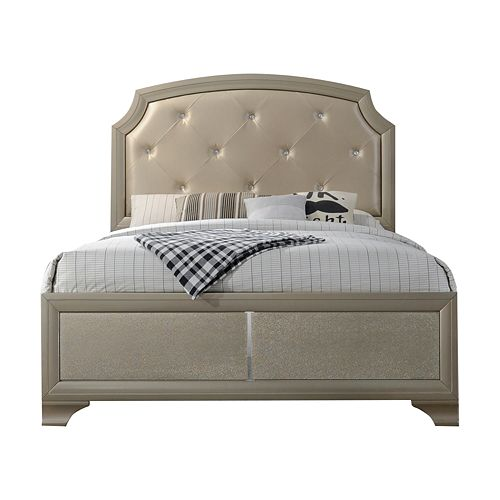 Home Source Coco Queen Bed With Jeweled Tufted Scooped Headboard