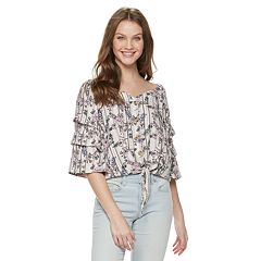 Juniors' Crave Fame Tie Front Peasant Top