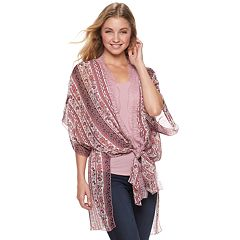 Juniors' Crave Fame Drop Shoulder Kimono With Tank