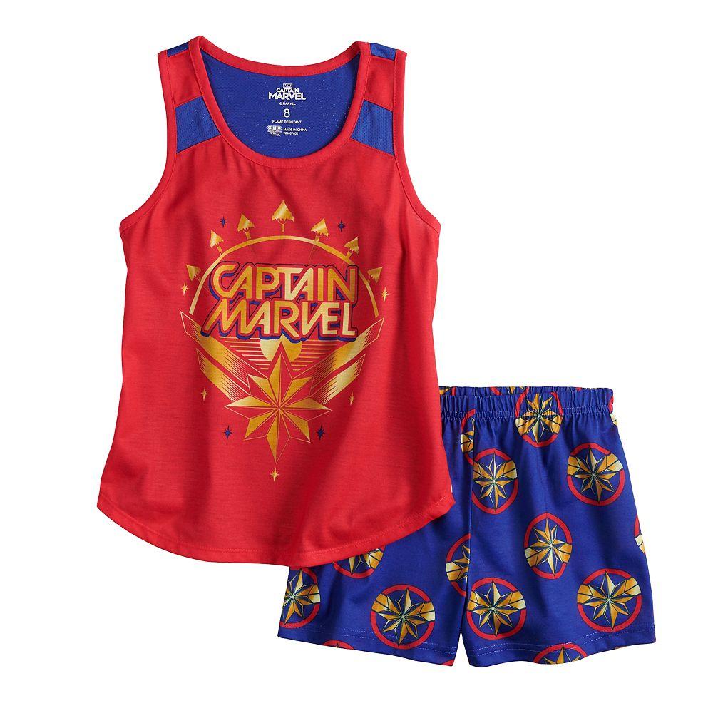 Girls 6-10 Captain Marvel Tank Top & Shorts Pajama Set