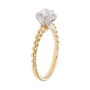 14k Gold 1/2 Carat T.W. IGL Certified Diamond Halo Engagement Ring