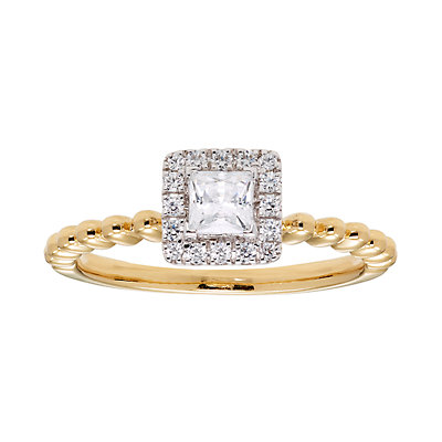 14k Gold 1/2 Carat T.W. IGL Certified Diamond Halo Engagement Ring