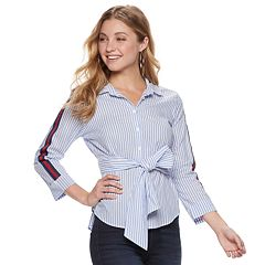 Juniors' Almost Famous Collared Button Down Tie Top