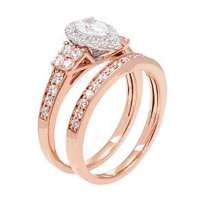 14k Gold 1 Carat T.W. IGL Certified Diamond Emerald Cut Engagement Ring Set