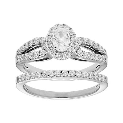 14k Gold 1 Carat T.W. IGL Certified Diamond Split Shank Engagement Ring Set