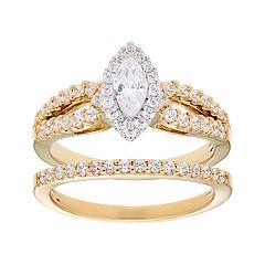 14k Gold 1 Carat T.W. IGL Certified Diamond Split Shank Engagement Ring Set