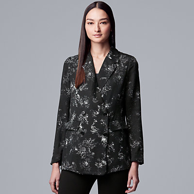 Women's Simply Vera Vera Wang Floral Double-Breasted Blazer
