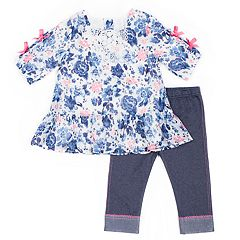 Girls 4-6x Little Lass Floral Chiffon Top & Capri Jegging Set