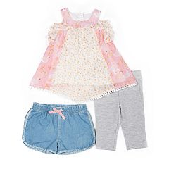 Girls 4-6x Little Lass 3-piece Chiffon Top, Chambray Shorts & Leggings Set
