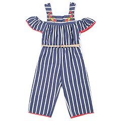 Girls 4-6x Little Lass Floral Striped Jumpsuit