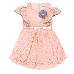 Girls 4-6x Little Lass Chevron Ruffle Dress