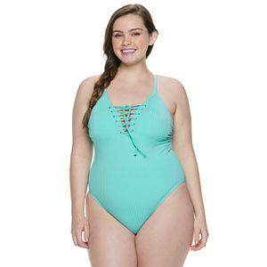 96fa8714ece83 Juniors' Plus Size Costa Del Sol Scroll High-Neck One Piece Swimsuit
