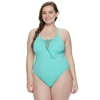 Juniors' SO® Lace-Up One-Piece Swimsuit