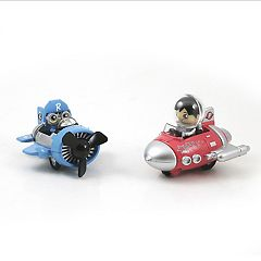 Bonkers Toy Co LLC Ryan's World Pull Back Vehicle 2 Pack -  Blue Sky Fighter & Red Rocket Ship