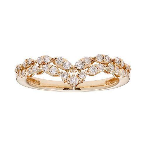 14k Gold 1/3 Carat T.W. IGL Certified Diamond Chevron Ring