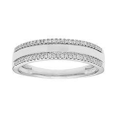 14k White Gold 1/6 Carat T.W. IGL Certified Diamond Double Row Ring