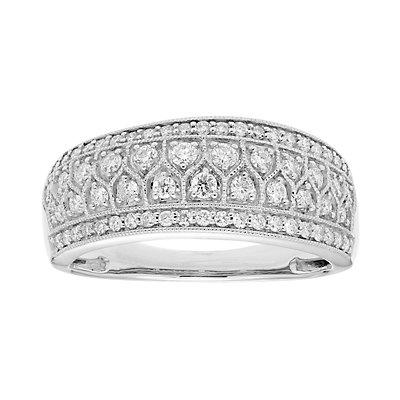 14k Gold 1/2 Carat T.W. IGL Certified Diamond Multi Row Ring