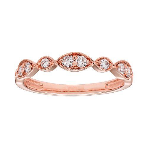 14k Gold 1/4 Carat T.W. IGL Certified Diamond Scalloped Ring