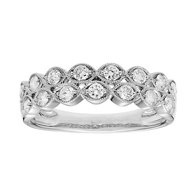 14k Gold 1/2 Carat T.W. IGL Certified Diamond Double Row Ring