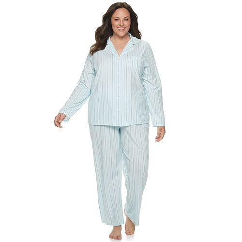 Plus Size Croft & Barrow Printed Notch Collar Sleep Shirt & Pants Pajama Set