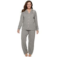 Plus Size Croft & Barrow Printed Notch Collar Shirt & Pants Pajama Set