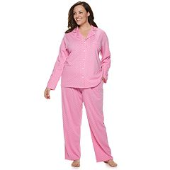 Plus Size Croft & Barrow Printed Notch Collar Sleep Shirt & Pants Pajama Set