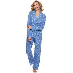 Women's Croft & Barrow® Printed Notch Collar Shirt & Pants Pajama Set