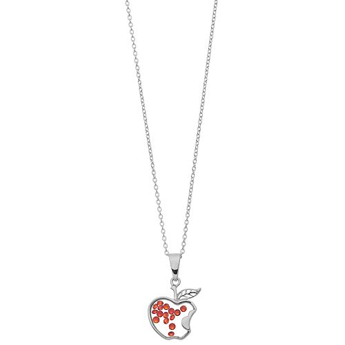Disney's Snow White Sterling Silver Crystal Apple Shaker Pendant Necklace