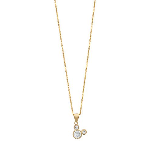 Disney's Mickey Mouse 10K Gold Cubic Zirconia Pendant Necklace