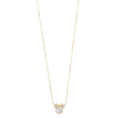 Disney's Minnie Mouse 10K Gold Cubic Zirconia Necklace