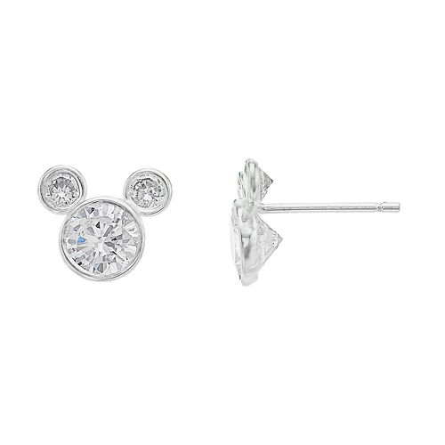 66249b465 Disney's Mickey Mouse Sterling Silver Cubic Zirconia Stud Earrings