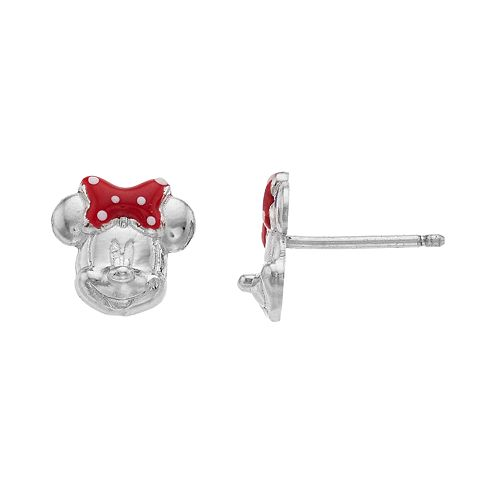 cf19bbf41 Disney's Minnie Mouse Sterling Silver Stud Earrings