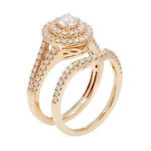 14k Gold 1 Carat T.W. IGL Certified Diamond Tiered Halo Engagement Ring Set