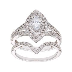 14k Gold 1 Carat T.W. IGL Certified Diamond Marquise Halo Engagement Ring Set