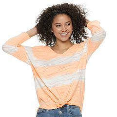 Juniors' Mudd® Knotted Front 3/4-Length Sleeve Tee