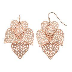 LC Lauren Conrad Rose Gold Tone Filigree Heart Kite Nickel Free Drop Earrings