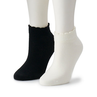 Women's Dr. Scholl's 2-Pair Scallop Low Cut Socks