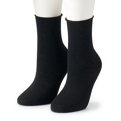 Women's Dr. Scholl's 2 Pair Roll-Top Crew Socks