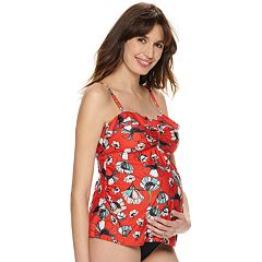 13b46d9670 Maternity Beach Scene Flutter Tankini Swim Top