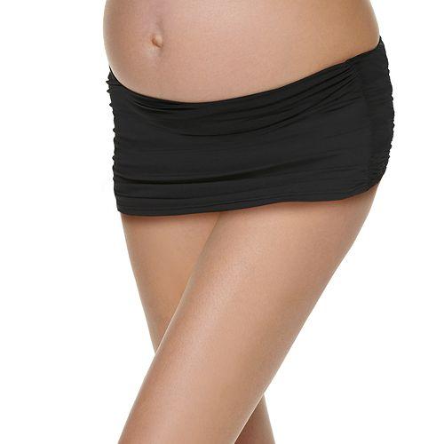 Maternity Beach Scene Side-Ruched Swim Skirt