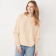Women's LC Lauren Conrad Weekend Ruffle-Trim Hood Sweatshirt