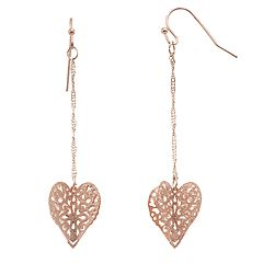 LC Lauren Conrad Rose Gold Tone Filigree Heart Charm Drop Earrings