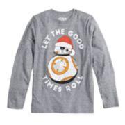 "Boys 8-20 Star Wars BB-8 ""Let The Good Times Roll"" Santa Tee"
