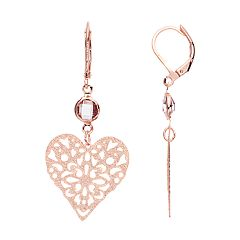 LC Lauren Conrad Rose Gold Tone Simulated Crystal Filigree Heart Nickel Free Drop Earrings