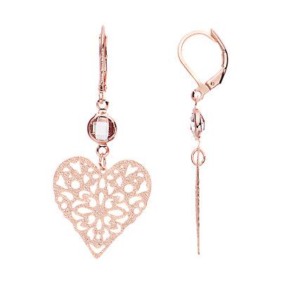 LC Lauren Conrad Rose Gold Tone Simulated Crystal Filigree Heart Nickel Free Drop Earrings