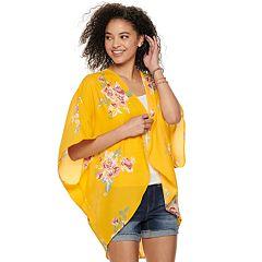 Juniors' Miss Chievous Floral Print Kimono