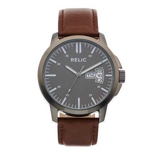 Relic Men's Maddox Leather Watch